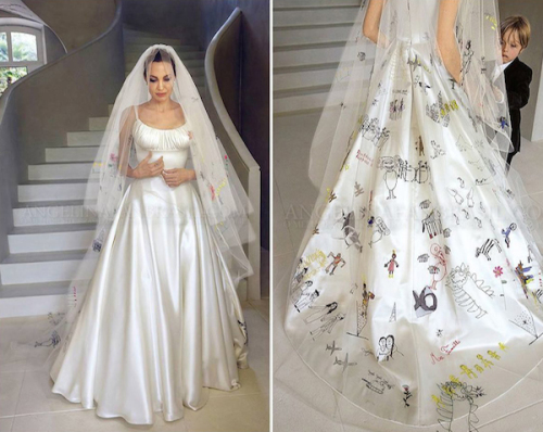Angelina Jolie wore an Atelier Versace designed gown, featuring gorgeous drawings by her six children when she wed Brad Pitt