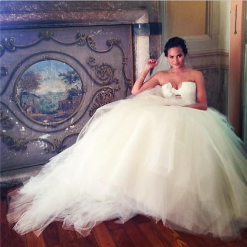 Chrissy Teigan chose a full Vera Wang design when she married John Legend