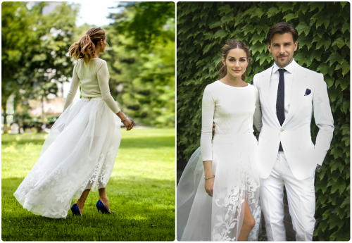 Olivia Palermo's Carolina Herrera outfit, blue Manolo Blahnik heels and tousled pony made her one of the most stylish brides ever