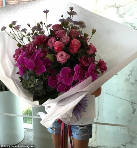 Roxy Jacenko shows off her MASSIVE bunch of flowers