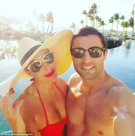 Shoe designer Terry Biviano and husband Anthony Minichiello celebrate in Hawaii
