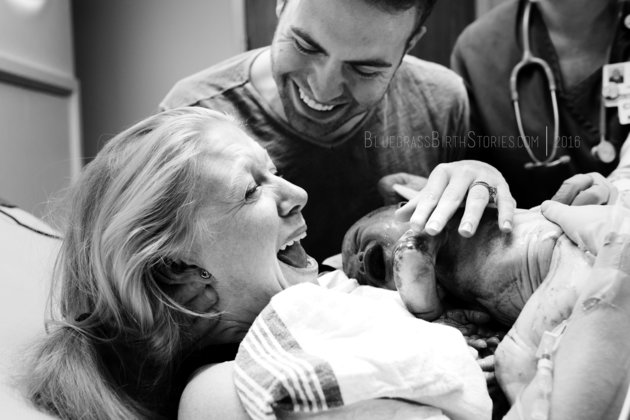 After 42 weeks, this mum was ecstatic to meet her little guy. Image: Bluegrass Birth Stories