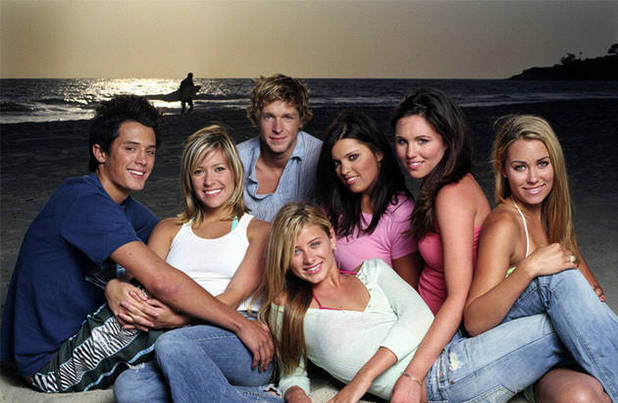 Steven, Kristen, some dude, two brunettes, Lauren and LC from The Real OC