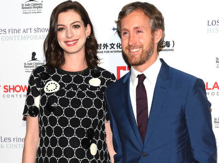 Anne Hathaway and husband Adam Shulman who had their son Jonathan almost a year ago.