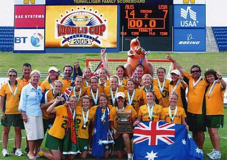 Stacey with her team when they won gold at the Lacrosse World Cup in 2005.