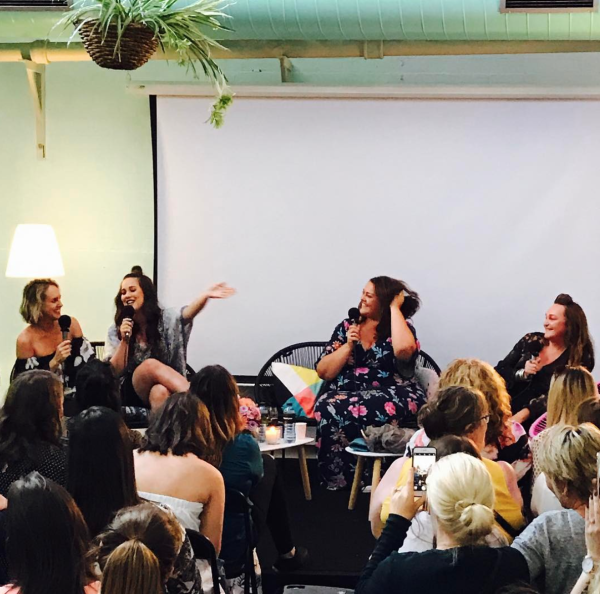 Monty, Sophie Cachia, Chrissie Swan and Kate Langbroek at our second live pod.