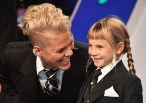 Pink with her insanely adorable little girl, Willow