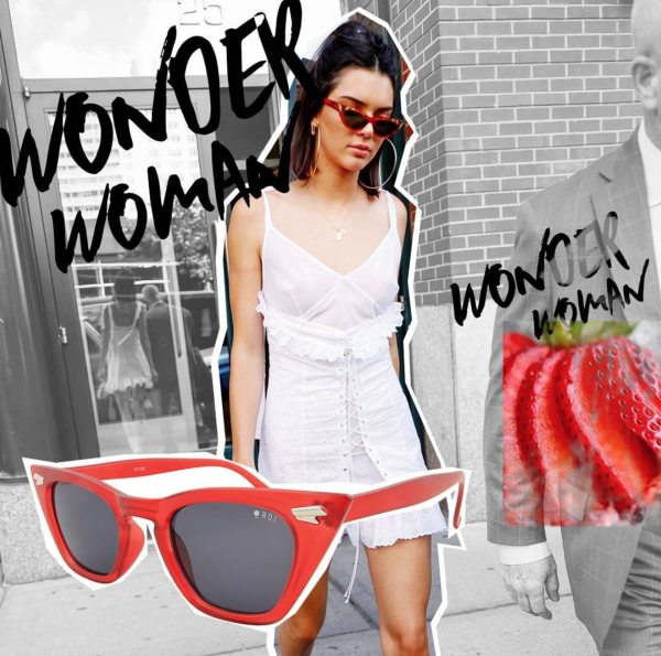 Kendall Jenner rockin' the red. Image: Instagram @ROCEyewear