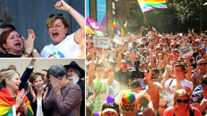 Top left, Christine Forster, Tony Abbott's sister and top right, Senator Penny Wong, after the YES vote was announced