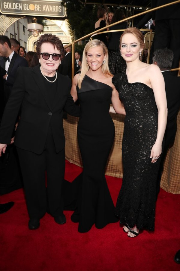 Tennis champ Billie-Jean King, Reese Witherspoon and Emma Stone