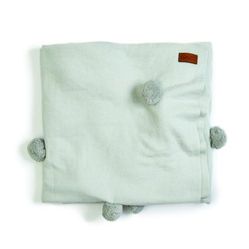 Grey pom poms blanket -cranmorehome.com.au - $249.00