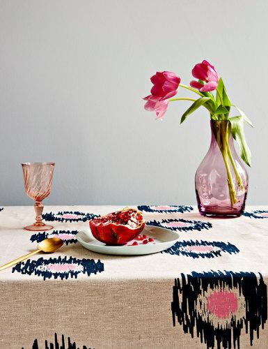 Ikat Spot Linen Tablecloth - $139.00 - Aqua Door Designs