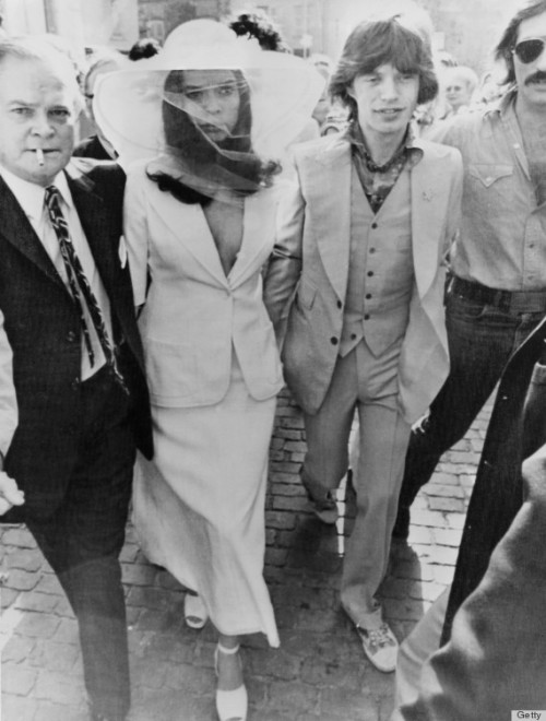 "Bianca Jagger wore a YSL ""Le Smoking"" jacket when she wed Mick. So cool."