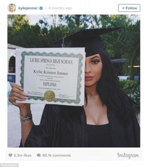 Number 4 - Kylie Jenner posting her high school diploma.