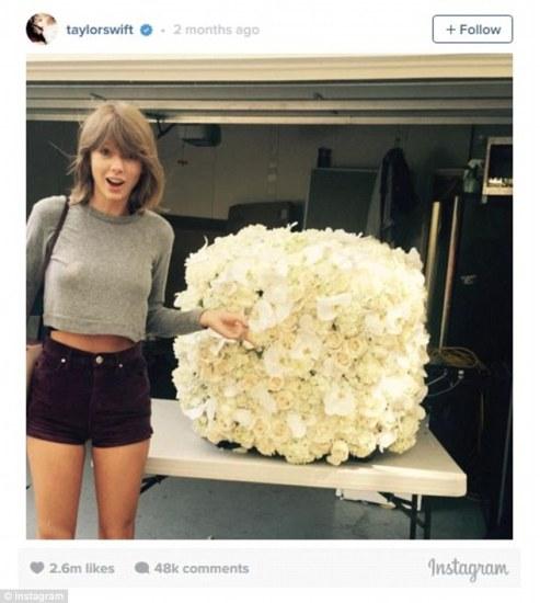 Number 2 - Taylor Swift alongside flowers Kanye West sent her.