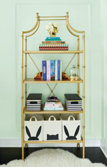 A gorgeous bookshelf in Honor's room.