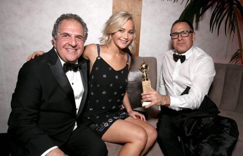 Jim Gianopulos, Jennifer Lawrence and David O. Russell