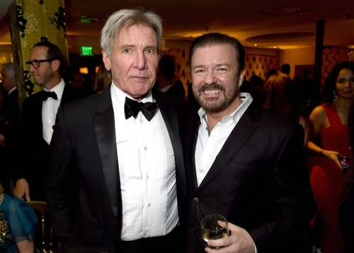 Harrison Ford and host Ricky Gervais