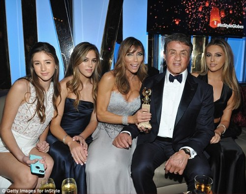 Sylvester Stallone with wife Jennifer Flavin and their three daughters