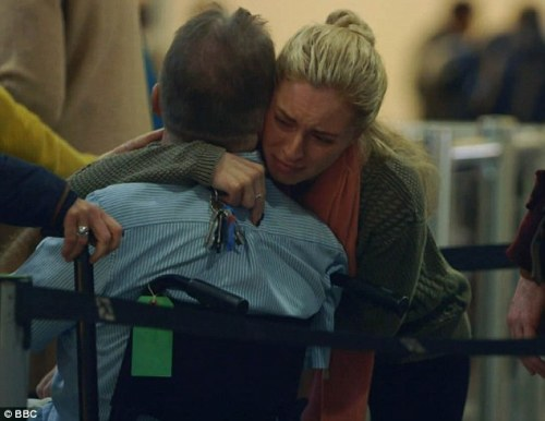 Family members say goodbye to Simon as he prepared to board his flight to the Swiss assisted suicide clinic.