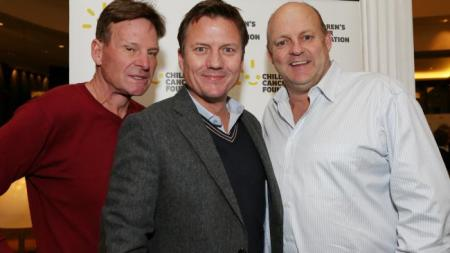 The Footy Show's co-hosts Sam Newman, James Bradshaw and panelist Billy Brownless