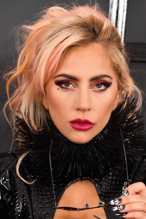 Lady Gaga with rose gold highlights