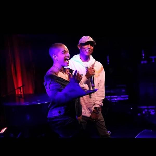 Pharrell onstage.
