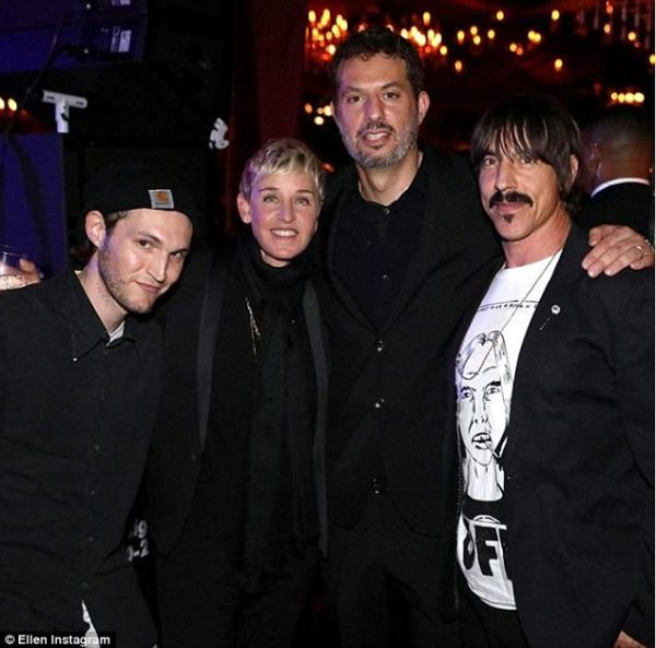 Ellen with Chilli Peppers' frontman Anthony Kiedes, Josh Klinghoffer and Guy Oseary.